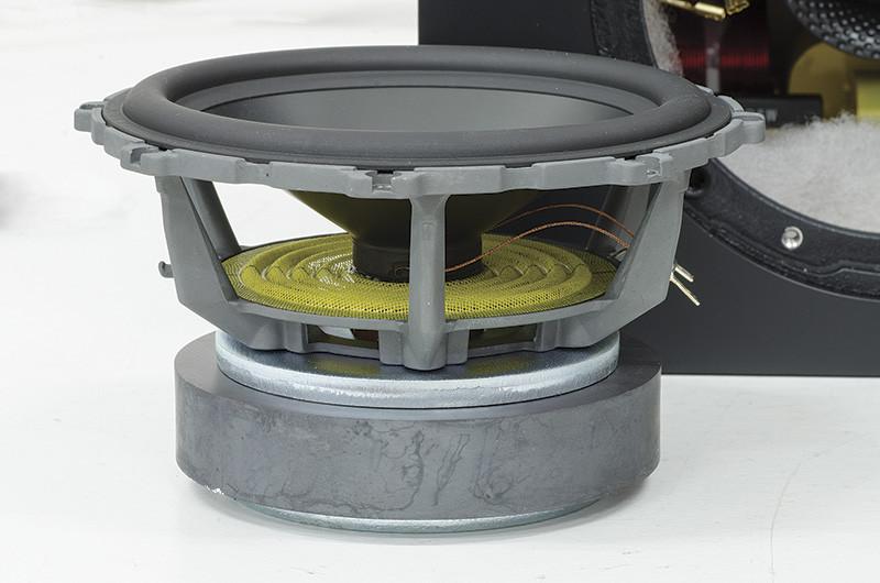 Uno dei due woofer da 165 millimetri. La membrana è realizzata con due strati di alluminio. Notare il complesso magnetico di buone dimensioni e la struttura del cestello aerato anche al di sotto del centratore per limitare al massimo compressioni di aria ed aumentare lo smaltimento del calore prodotto dalla bobina mobile.