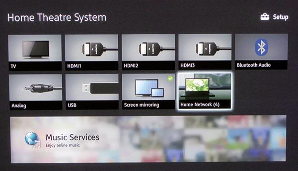 La schermata principale della soundbase Sony permette di accedere a tutte le funzioni e, nel caso della presenza in rete locale di server DLNA, questi vengono automaticamente riconosciuti.