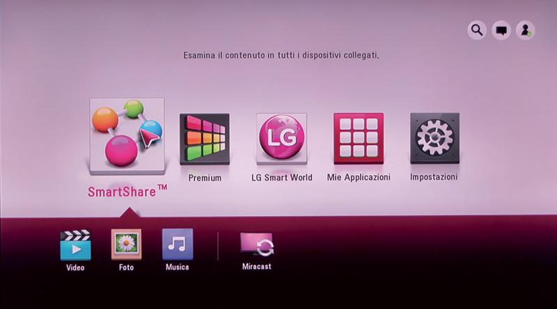 La pagina iniziale offre le principali funzioni del lettore, tutte navigabili con il Magic Remote.
