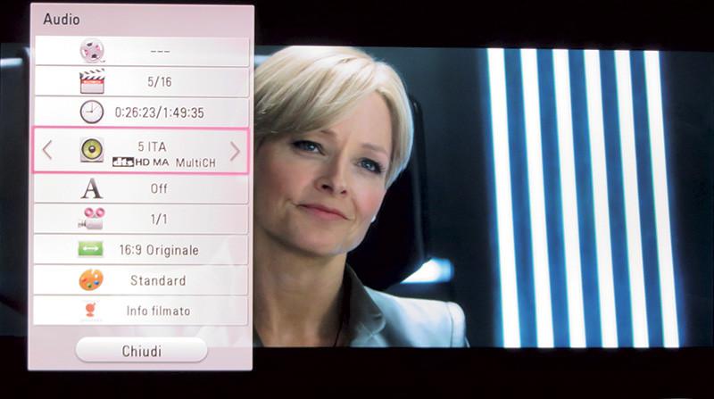 La foto, purtroppo, non riesce a dimostrare la bontà dell'immagine 4K; sulla sinistra è visibile il menu di opzioni che si ottiene premendo il tasto INFO/Menu sul telecomando.