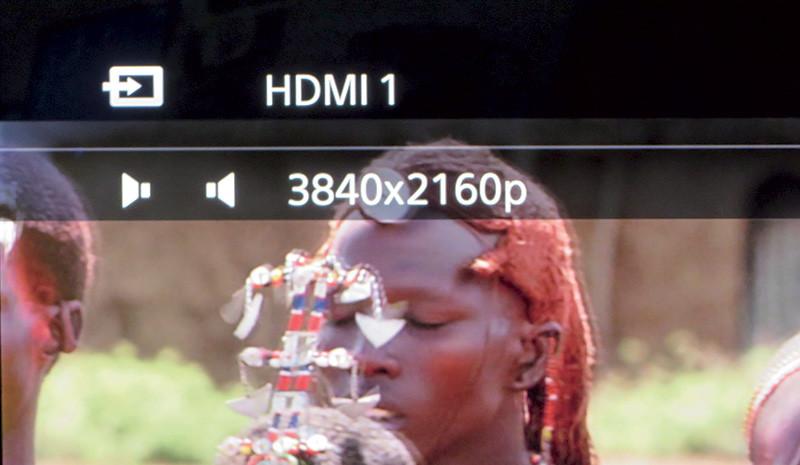 Il TV testimonia il tipo di segnale in ingresso (4K).