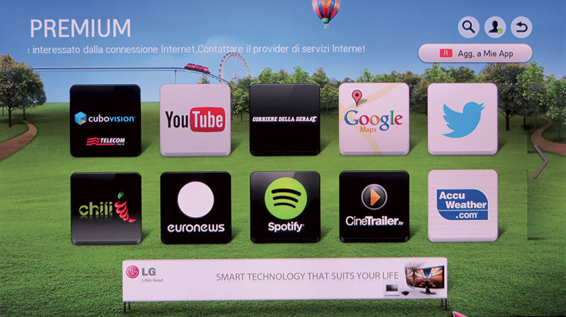 La pagina principale dei servizi Smart TV è del tutto simile a quella presente negli apparecchi TV di LG.