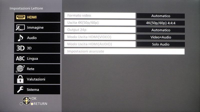 Nelle impostazioni delle porte HDMI è possibile configurare la modalità di uscita 4K; il lettore consente di suddividere il segnale video da quello audio sulle due uscite.