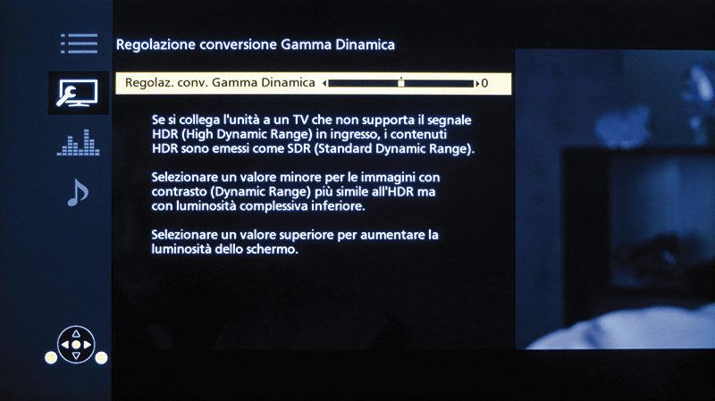 Nel caso che HDR non sia supportato, il lettore emette il segnale in SDR e consente la regolazione manuale della gamma dinamica.