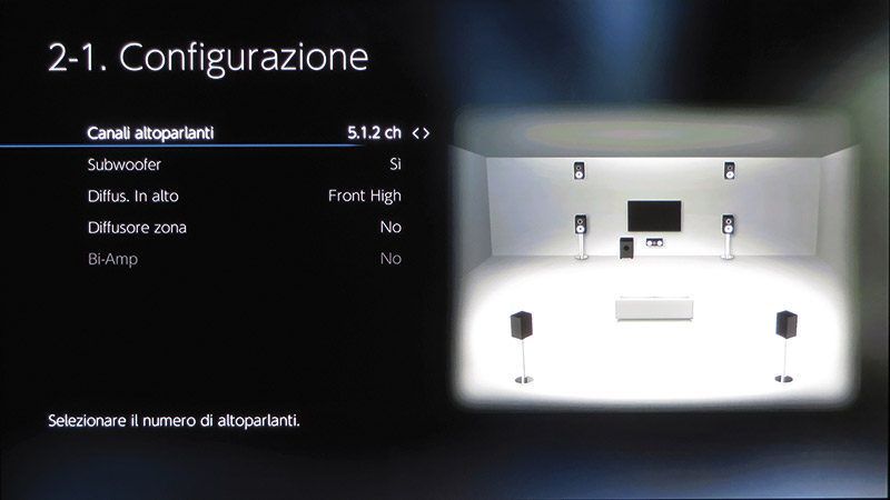 La configurazione che ho scelto per la prova dell'apparecchio è quella conforme al Dolby Atmos.