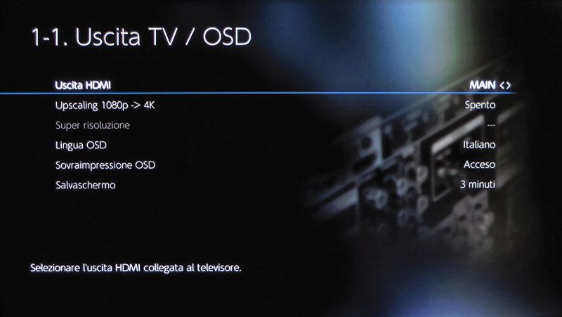 Nelle impostazioni dell'uscita TV è possibile attivare l'upscaling 4K del segnale video.