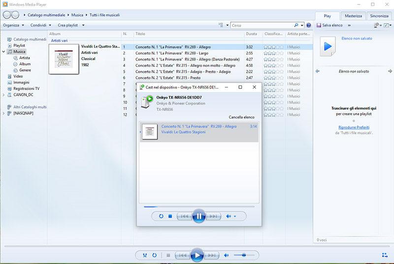 """Da Windows Media Player, per attivare la riproduzione nel TX-NR656, occorre cliccare col tasto destro sul brano e selezionare la voce """"Cast nel dispositivo""""."""