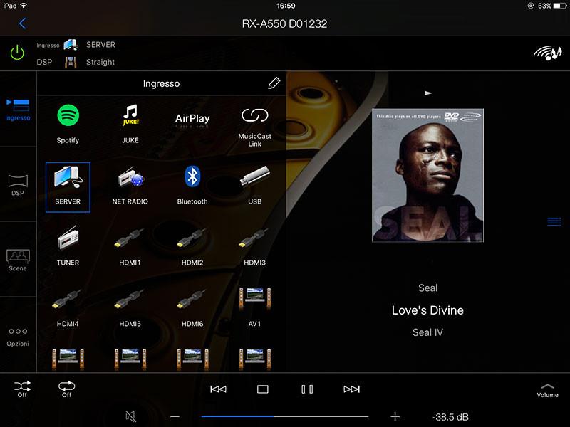 L'app AV Controller consente di gestire tutti i dispositivi Aventage di Yamaha, da smartphone e tablet, sostituendo il telecomando; tra la versione Android e iOS non ci sono particolari differenze.