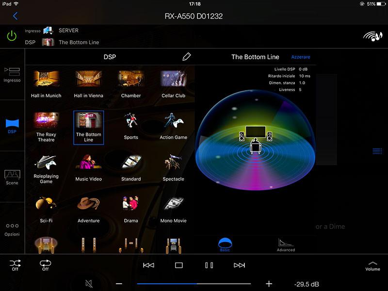 """L'app permette di modificare facilmente i parametri dei numerosi DSP proposti da Yamaha, ad esempio, con la vista """"Basic"""", ampliare o restringere il campo sonoro."""