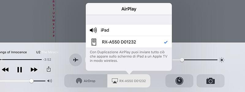 Inviare la musica da un iPad verso il sintoampli Yamaha è come bere un bicchier d'acqua, grazie ad AirPlay.