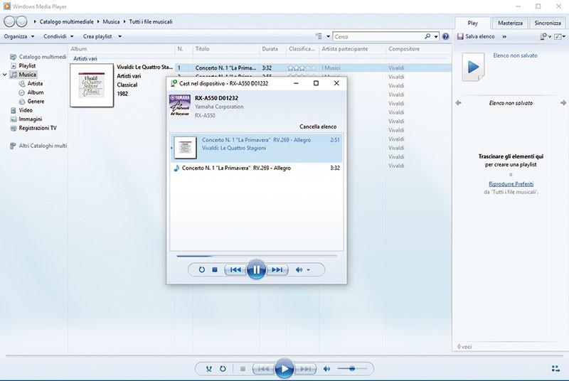 """In ambiente Windows (in questo caso la versione 10 del sistema operativo), la compatibilità DLNA consente di trasferire la riproduzione all'RX-A550 collegato in rete cliccando su """"Cast nel dispositivo""""."""