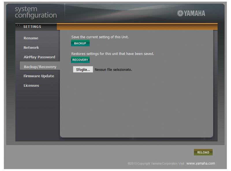 Accedendo con un browser all'indirizzo IP del sintoamplificatore, è possibile effettuare un salvataggio delle impostazioni.