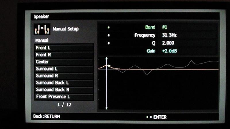 Ecco un esempio di curva di equalizzazione del sistema di autocalibrazione YPAO. La campana a tratto chiaro è relativa al contributo del primo filtro centrato sulla frequenza 31,5 Hz.