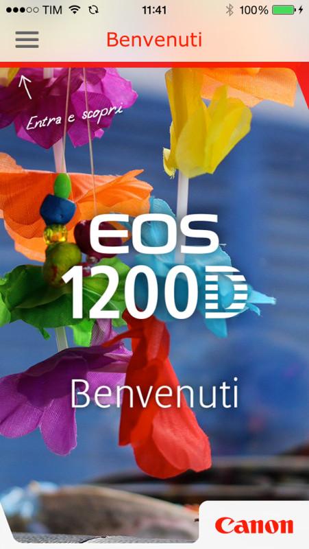 A disposizione dei nuovi possessori della Canon 1200D (ma anche di tutti gli altri, essendo gratuita) è disponibile una app (sia iOS che Android) che guida attraverso funzionalità e operatività della fotocamera.