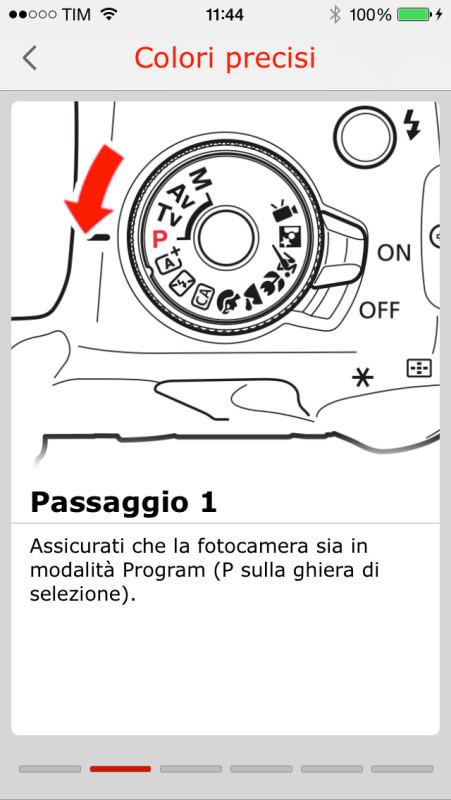 Oltre a guide d'uso con schemi e indicazioni sulle funzioni, nell'app sono presenti dei tutorial video che mostrano come affrontare le situazioni più comuni durante una sessione fotografica.