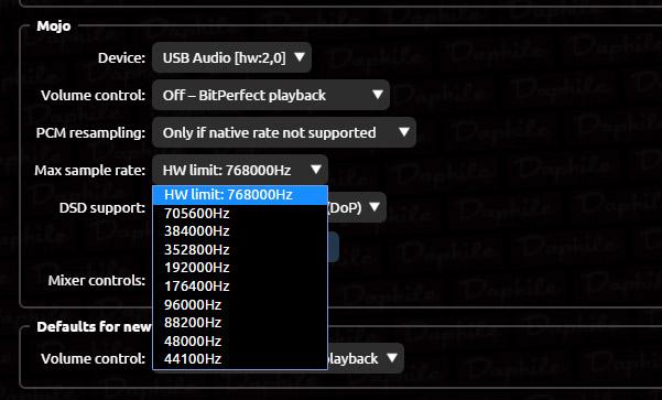 In questo particolare si possono vedere le frequenze di campionamento PCM supportate dal Mojo e che sono gestibili attraverso l'interfaccia di configurazione di Daphile.
