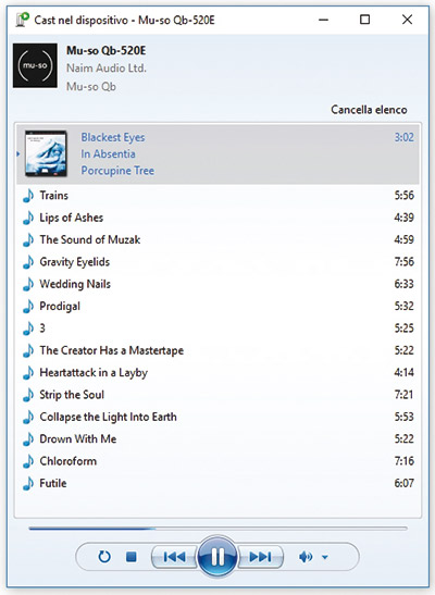 """Da Windows il Mu-so Qb viene riconosciuto automaticamente; per riprodurre le tracce selezionate da una qualsiasi unità disco è necessario il clic col tasto destro e la scelta dell'opzione """"Cast nel dispositivo""""."""
