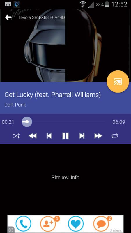 Per riprodurre i brani memorizzati sul dispositivo mobile utilizzando Google Cast è necessaria l'app Localcast.