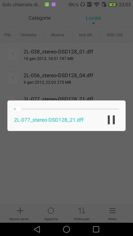 """Da """"Gestione file"""" ho scoperto che il phablet riproduce anche i file audio ad alta risoluzione, ad esempio DXD e DSD."""