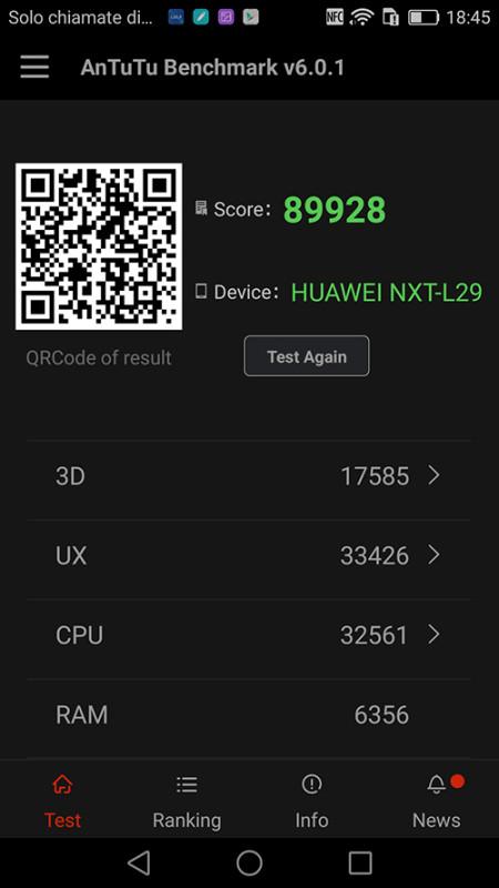 L'app AnTuTu, utilizzata per verificare le prestazioni del dispositivo, riporta un risultato che pone il Mate 8 al massimo livello della graduatoria.