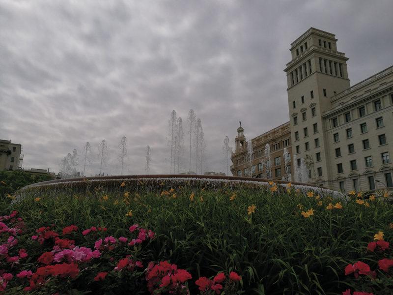 Primo pomeriggio un po' cupo in Plaça Catalunya a Barcellona, col cielo plumbeo ho ottenuto una drammatizzazione della scena, nella quale risaltano molto i fiori della parte bassa, con i loro colori abbastanza saturi.