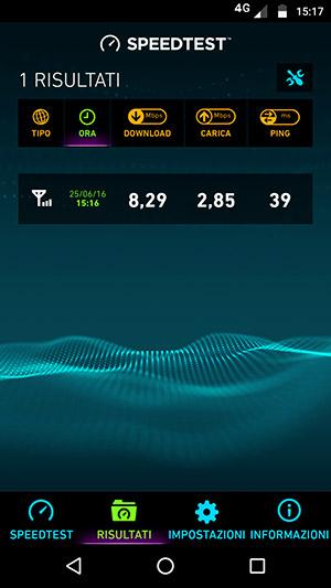 La copertura della zona in cui ho provato la connessione 4G non era ottimale, i risultati sono però soddisfacenti.