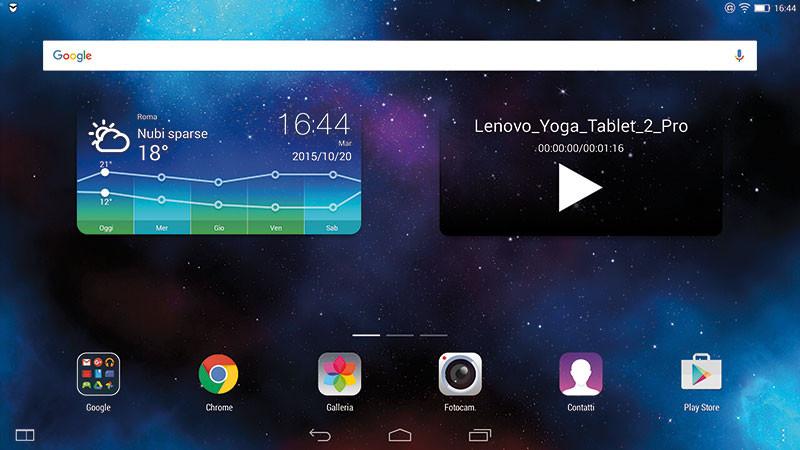 La pagina Home del dispositivo è piuttosto scarna, ma personalizzabile con altri widget.