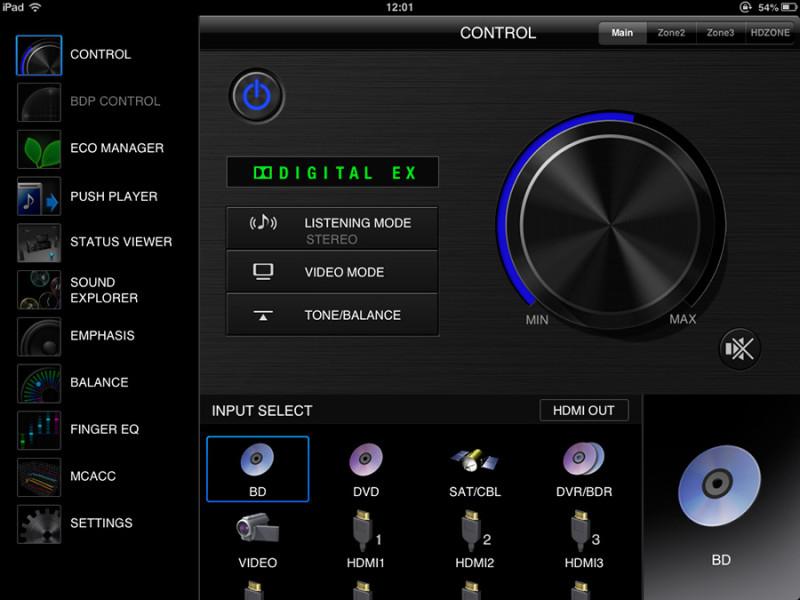 Eccellente l'interfaccia utente dell'app icontrolAV2013, che permette il controllo completo e approfondito di tutte le opzioni.