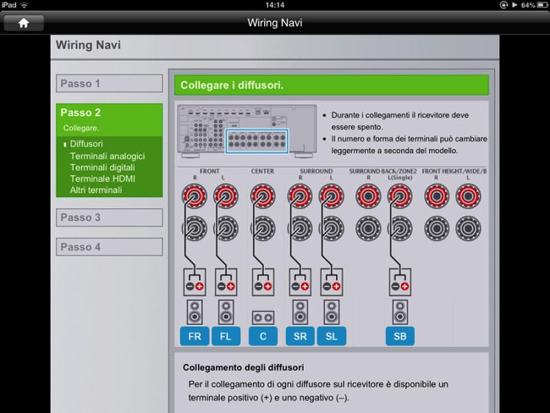 L'altra app AVNavigator è di aiuto per gli utenti alle prime armi: impostando alcuni parametri della composizione del proprio impianto, mostra come devono essere effettuati i collegamenti ai componenti e ai diffusori.