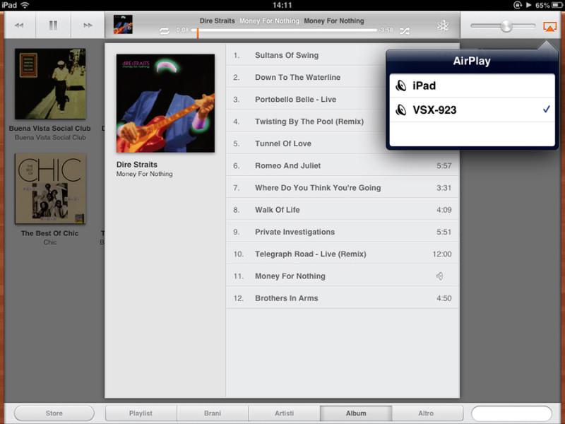 Con AirPlay è semplicissimo inviare la musica in streaming dall'iPad verso il sintoamplificatore.