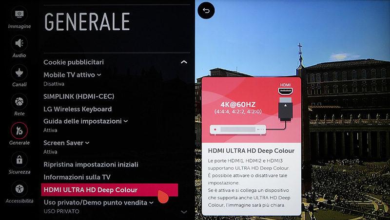 Tra le impostazioni generali, la configurazione del Deep Colour per le porte HDMI.