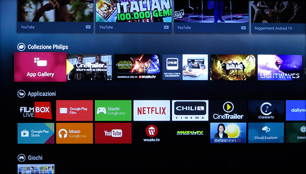Le applicazioni preinstallate sono per la maggior parte legate a servizi di streaming audio/video, ma tramite l'app gallery di Philips o il Play Store se ne possono aggiungere a piacimento.