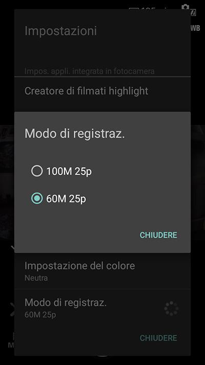 Con l'app per smartphone e grazie all'ultimo aggiornamento del firmware della telecamera si può selezionare la registrazione a 100 Mbps. È necessaria però una microSD Classe 10 UHS U3 per sostenere questo flusso di dati.