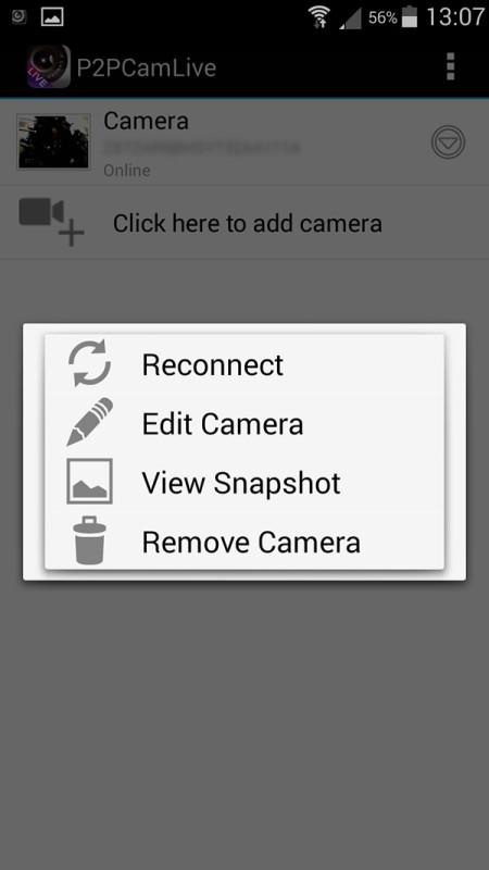 In questa schermata dell'app Android si possono aggiungere ed editare le informazioni delle videocamere.