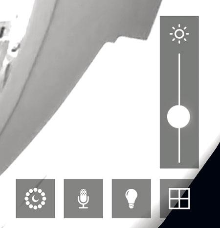 """In questo particolare del """"Live video"""" sono visibili dei bottoni virtuali per configurare la visione notturna, attivare il microfono, accendere e spegnere le luci mediante interruttori intelligenti, regolare il livello di luminosità delle immagini e accedere a tutte le Piper (massimo 4) presenti nel proprio sistema."""
