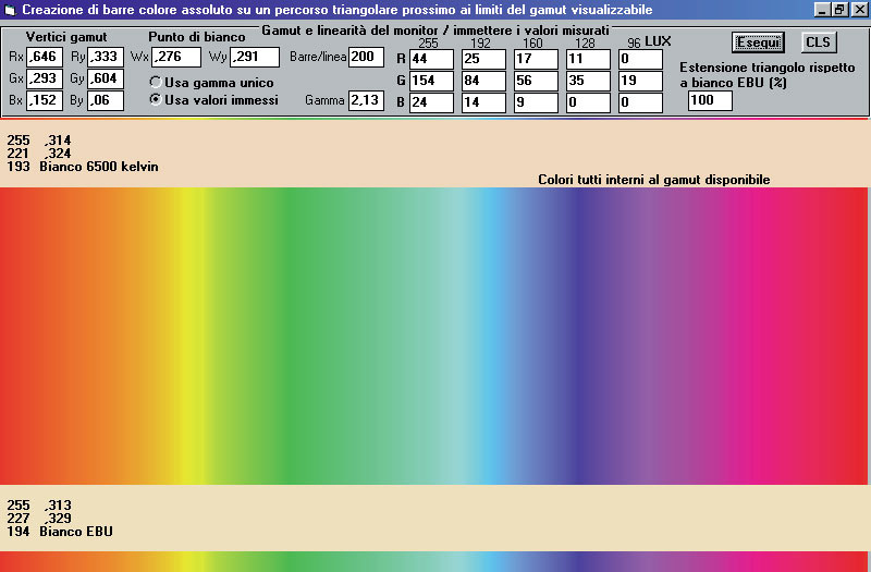 Figura 3 – Una schermata di TRIGAMUT in cui i colori-limite del triangolo di gamut corrono con continuità da sinistra verso destra, partendo dal vertice del rosso (x=0.64, y=0.33).