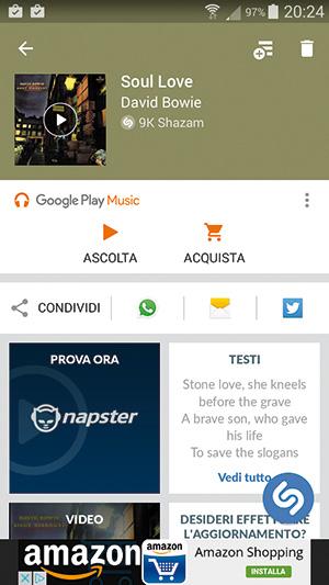 """L'app Shazam su uno smartphone Android. Nel piccolo riquadro """"Testi"""" scorre il testo della canzone."""