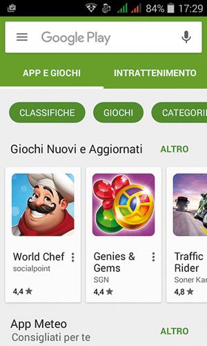 Per caricare l'app SoundHound occorre aprire il Play Store.