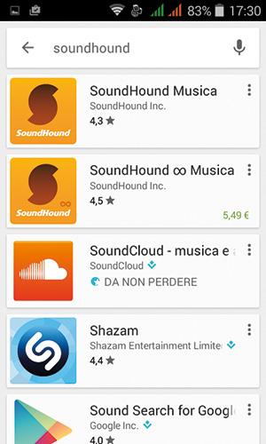 """Il Play Store propone una lista di applicazioni papabili per l'installazione, nel nostro caso bisogna scegliere """"SoundHound Musica""""."""