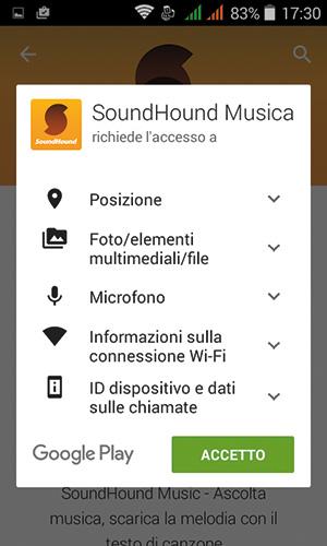 Prima dell'installazione vera e propria, bisogna consentire all'app di accedere ad alcune risorse dello smartphone.