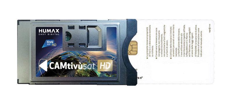 Nell'immagine una delle CAM disponibili in commercio; in realtà la smartcard va inserita al contrario rispetto a quanto mostrato in foto, cioè con il chip rivolto  verso l'alto.