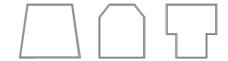 Disegno 1 - Alcune variazioni raccomandabili della forma rettangolare che consentono di ottimizzare il campo sonoro riflesso sul punto d'ascolto.