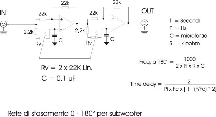 Figura 8 - Classico circuito sfasatore per una regolazione continua da 0 a 180 gradi.