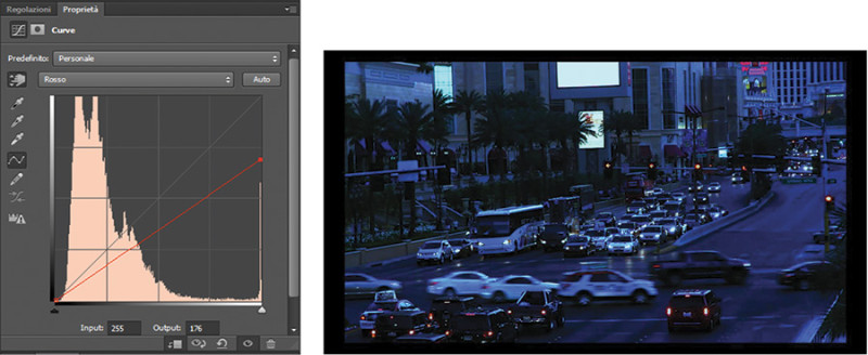 Figura 10 - Intervento sul canale del rosso per dare un look più notturno al video.