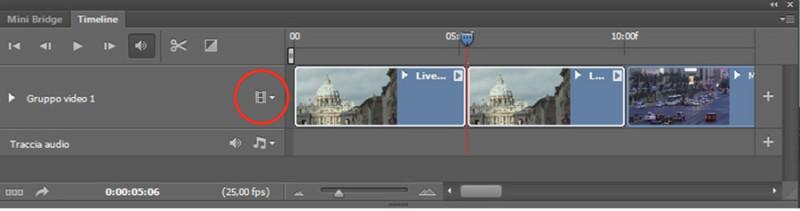 Figura 4 - Timeline di Photoshop; in rosso il tasto per inserire altri video nel progetto e poter fare un montaggio.