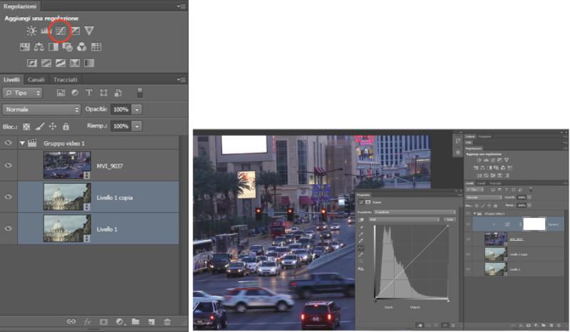 Figura 5 - Come si presentano i vari tagli e video nella finestra livelli. Una volta selezionato il video, per inserire il filtro curve basta premere il tasto evidenziato in rosso. Nella finestra livelli comparirà un livello di regolazione che influenzerà solo il video selezionato.